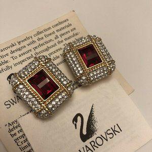 Swarovski Crystal Clip On Earrings Ruby Red